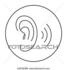 人間の耳 線 Icon クリップアート