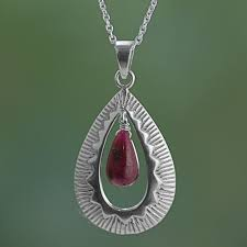 handcrafted silver ruby pendant chain necklace from india ruby grandeur