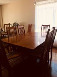 extendable wood dining table chairs included