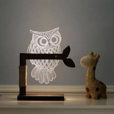 new year decoration 3d acrylic owl nightlight household bedroom office led table lamp child gift