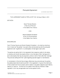 Prenup Agreement Form Black Template Usa Prenuptial Word