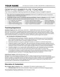 Substitute Teacher Resume Example | Resume Format Download Pdf