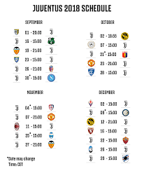 2018 Schedule for Serie A and Champions League : Juve