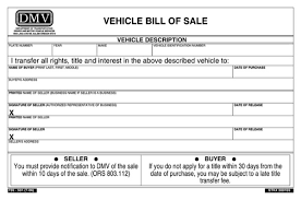 Vehicle Sale As Is Form Download Oregon Vehicle Bill Of Sale Form For Free
