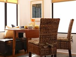 image of rustic dining chair cushions with ties