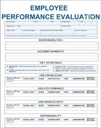8 Sample Job Performance Evaluation Forms Staff Form Review Format
