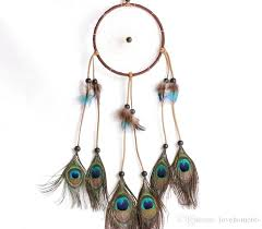 dream catcher circular peacock feathers wall hanging decoration home decor craft feather juju