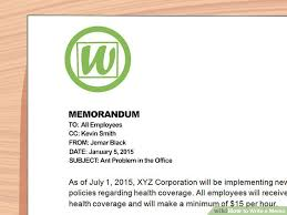 Example Of Office Memorandum Letter How To Write A Memo With Pictures Wikihow