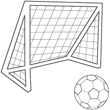 Small Picture Soccer Ball with Soccer Net Coloring Page Sports