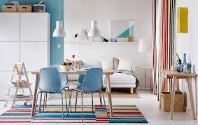 cool dining room lights. Colourful Open Plan Dining And Sitting Room With Light Wood Table Blue Chairs. Cool Lights