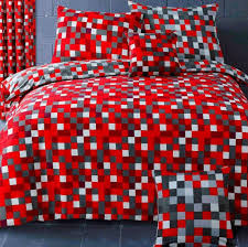 red grey square pixel check trendy teenage reversible bedding duvet quilt cover set 11324 p jpg