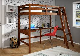 simple wooden loft bed with desk