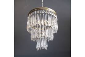 vintage french brass chandelier with 3 tier waterfall icicle glass crystals photo 1