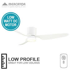 city ceiling fan dc with led light and remote low profile white 52