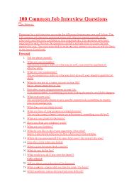 100 Common Job Interview Questions 100 Questoes Comuns No