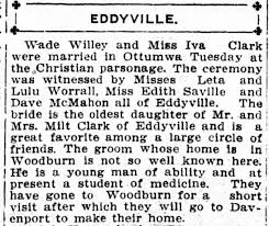 Wade D Willey marriage 1913 - Newspapers.com