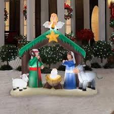 Image is loading Christmas-Inflatable-Nativity-Scene-Decor-Outdoor -Garden-Lawn- Christmas Inflatable Nativity Scene Decor Outdoor Garden Lawn Xmas