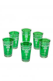 6 x tea glass andalous green 6 pieces