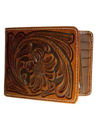 details about nocona mens western leather wallet bi fold style tooled