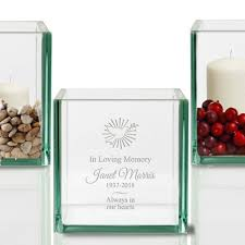 in loving memory personalized gl cube candle holder