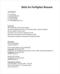 Skills For Firefighter Resume Template All Best Cv Resume Ideas