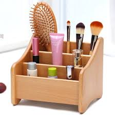 desk storage accessories beech 3 groove cosmetic accessories storage wooden makeup storage box creative dresser desk
