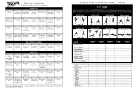 Insanity Workout Sheet Printable Insanity Workout Calendar Pdf Free Fitness Pinterest 1