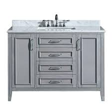 vanity in gray with marble vanity top in carrara white pemadison48 the home depot