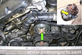 bmw e60 5 series water pump replacement m54 6 cylinder pelican the water pump green arrow on m54 6 cylinder engine models is located