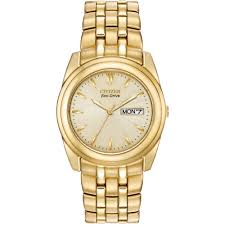 men s citizen eco drive gold plated bracelet watch bm8222 56p men s citizen eco drive gold plated bracelet watch