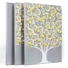 grey canvas wall art unique gray and yellow wall art tree on canvas triptych