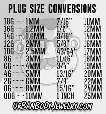 Plug Size Chart Plugs Ear Gauges Size Conversion Chart Urbanbodyjewelry Com