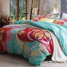 aqua blue and red abstract large fl print 100 cotton full queen size bedding duvet cover sets