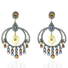 gold pearl chandelier earrings image is loading sapphire pearl diamond gold sterling silver chandelier earrings rose