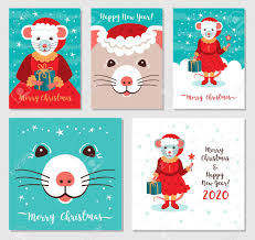 Funny Christmas Rats Greeting Cards Merry Christmas And New