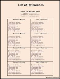 Reference List Format For Resume Printable Reference List Download Them Or Print