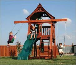 small playset backyard playground surface ideas wood