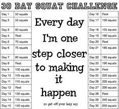 7 Day Squat Challenge Chart Squat Challenge Printable Chart 30 Day Squat Challenge