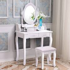 white vanity wood makeup dressing table stool set bedroom with mirror 4drawers