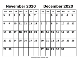 November And December 2020 Calendar Printable Calendar 2020