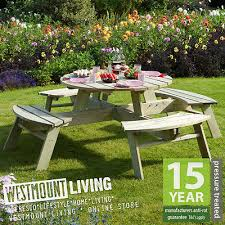 new 8 seater round wooden garden picnic table pub bench seat pressure treated