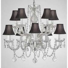 10 light empress crystal chandelier with black shades