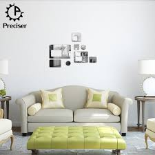 8pcs rectangular square circles rounds crystal reflective diy mirror effect 3d wall stickers home decoration decor