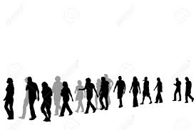 People Walking In Line Vector Illustration