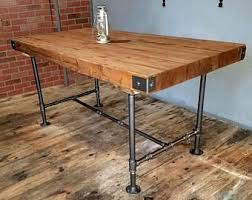 Rustic Industrial Table, Butcher Block Top Table, Dining Table with Steel  Pipe Base,