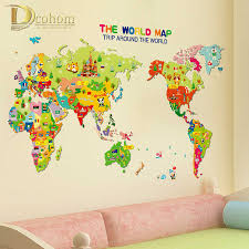 colorful cartoon world map wall sticker kids room living room nursery decoration vinyl poster wall decals