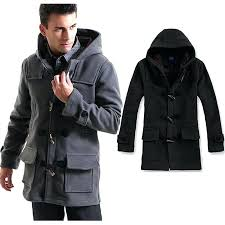 pea coat with hood single ted trench coat hooded men long woolen pea coats windbreaker slim pea coat with hood men