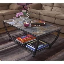 ashley antigo slate tile rectangular coffee table and casters in black
