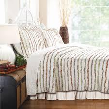 Full / Queen 100% Cotton Quilt Set Ruffled Multi-color Stripes ... & Full / Queen 100% Cotton Quilt Set Ruffled Multi-color Stripes Adamdwight.com