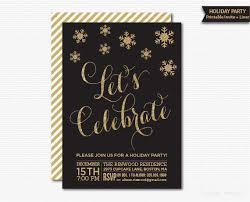 Lets Celebrate Holiday Party Invitation Printable Black Gold